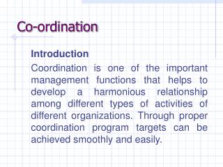 Co-ordination