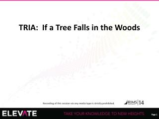 TRIA:  If a Tree Falls in the Woods