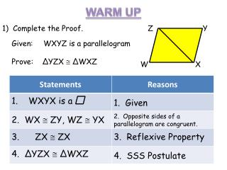 Given:	    WXYZ is a parallelogram Prove:     Δ YZX   Δ WXZ