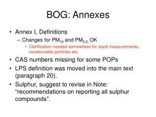BOG: Annexes