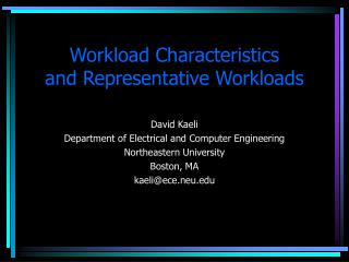 Workload Characteristics and Representative Workloads