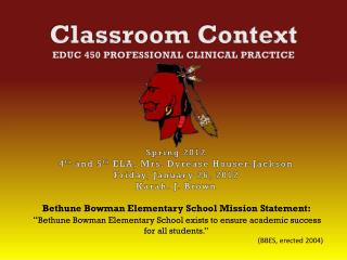 Classroom Context EDUC 450  Professional Clinical Practice