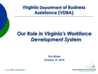 Virginia  Department  of Business Assistance (VDBA)