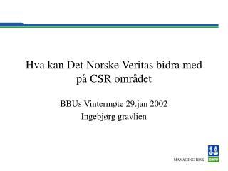 Hva kan Det Norske Veritas bidra med på CSR området