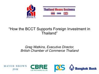 """How the BCCT Supports Foreign Investment in Thailand"""