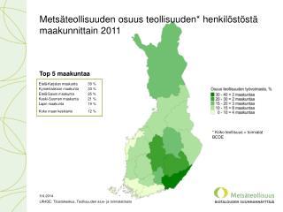 Metsäteollisuuden osuus teollisuuden* henkilöstöstä maakunnittain 2011
