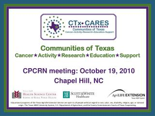 Communities of Texas Cancer  Activity  Research  Education  Support