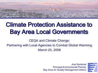Climate Protection Assistance to Bay Area Local Governments