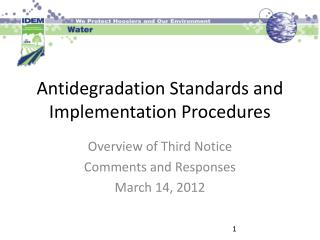 Antidegradation Standards and Implementation Procedures