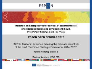 Indicators and perspectives for services of general interest