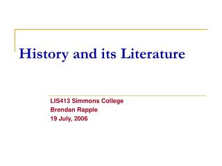History as a Research Discipline