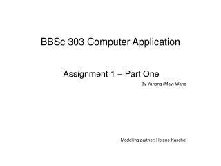 BBSc 303 Computer Application