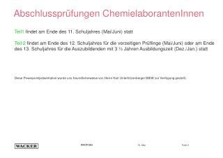 Abschlussprüfungen ChemielaborantenInnen
