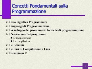 Concetti Fondamentali sulla Programmazione