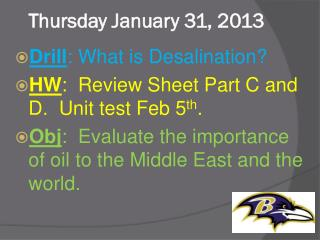 Thursday January 31, 2013