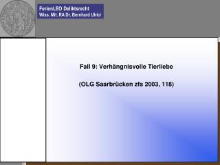 Fall 9: Verhängnisvolle Tierliebe (OLG Saarbrücken zfs 2003, 118)