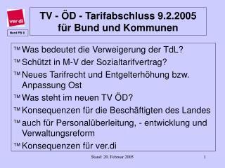 TV - ÖD - Tarifabschluss 9.2.2005 für Bund und Kommunen