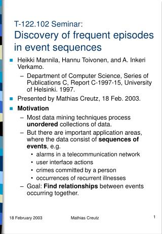 T-122.102 Seminar: Discovery of frequent episodes in event sequences