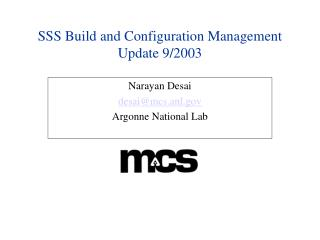 SSS Build and Configuration Management Update 9/2003