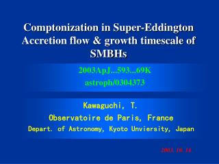 Comptonization in Super-Eddington Accretion flow & growth timescale of SMBHs