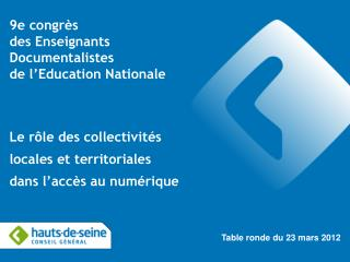 9e congrès  des Enseignants  Documentalistes  de l'Education Nationale