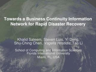 Towards a Business Continuity Information Network for Rapid Disaster Recovery