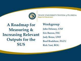 A Roadmap for Measuring & Increasing Relevant Outputs for the SUS Workgroup John Delaney, UNF