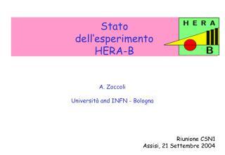 Stato  dell'esperimento  HERA-B