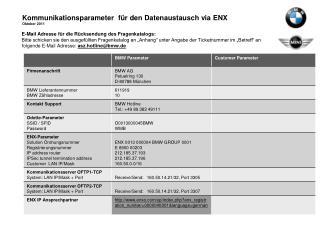 Kommunikationsparameter  für den Datenaustausch via ENX Oktober 2011