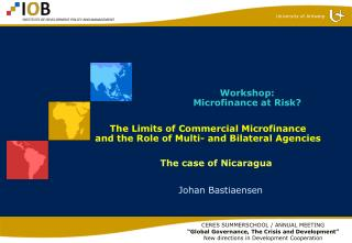 The Limits of Commercial Microfinance  and the Role of Multi- and Bilateral Agencies