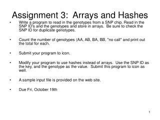 Assignment 3:  Arrays and Hashes
