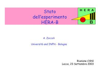 Stato  dell�esperimento  HERA-B