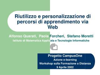 Riutilizzo e personalizzazione di percorsi di apprendimento via Web