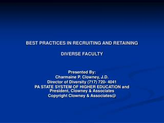 Best practices in recruiting and retaining diverse faculty ...