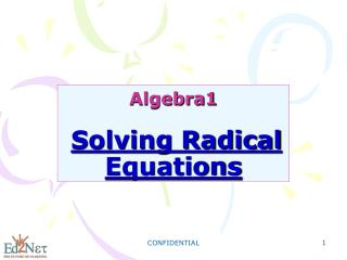Algebra1 Solving Radical Equations