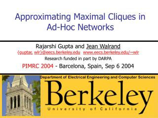 Approximating Maximal Cliques in Ad-Hoc Networks