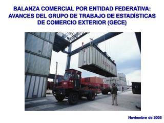 BALANZA COMERCIAL POR ENTIDAD FEDERATIVA:  AVANCES DEL GRUPO DE TRABAJO DE ESTAD ÍSTICAS