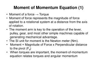 Moment of Momentum Equation (1)