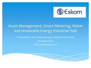 Asset Management, Smart Metering, Water and renewable Energy Industrial Hub