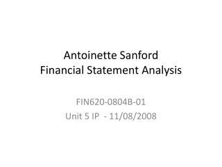 Antoinette Sanford Financial Statement Analysis