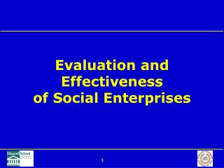 Evaluation and Effectiveness of Social Enterprises