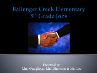 Ballenger Creek Elementary 5 th  Grade Jobs