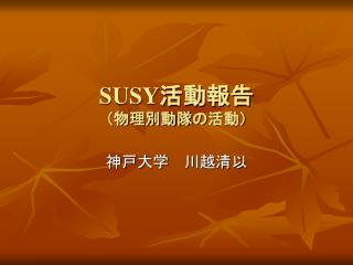 SUSY 活動報告 (物理別動隊の活動)