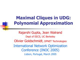 Maximal Cliques in UDG: Polynomial Approximation