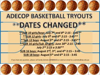 ADECOP BASKETBALL TRYOUTS ** DATES CHANGED**
