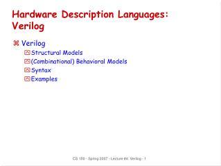 Hardware Description Languages: Verilog