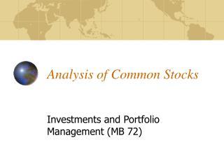 Analysis of Common Stocks