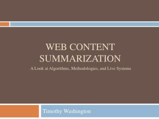 Web Content Summarization
