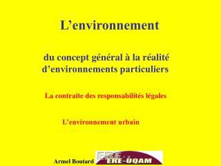 L'environnement