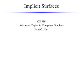 Implicit Surfaces